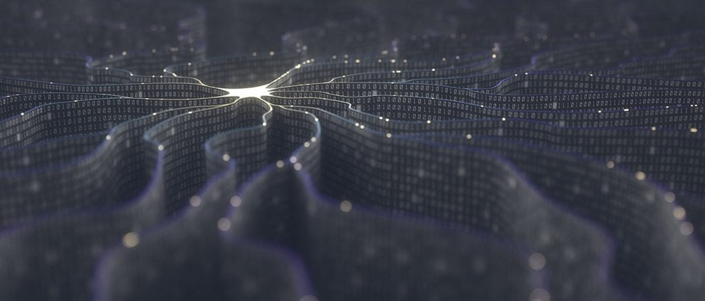 A conceptual image of an artificial neuron in artificial intelligence.